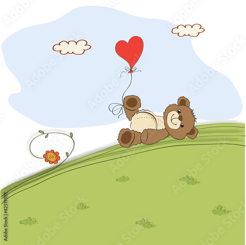 teddy bear with heart on meadow