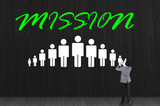 Businessman drawing mission symbol