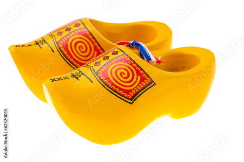 Wooden shoe - klomp isolated on white background