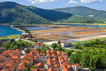 general view of Ston town with ancient saltworks. Croatia.