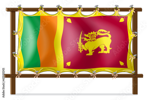A wooden frame with the flag of SriLanka