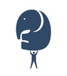 Businessman lifting Elephant Icon