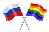 Flags : Russia and rainbow