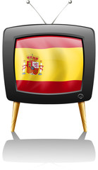 A TV with the flag of Spain