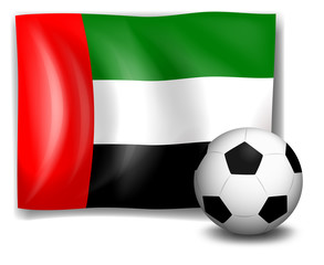 A soccer ball and the flag of United Arab Emirates