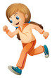 A girl jogging with her orange outfit