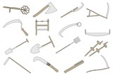 cartoon image of farming tools