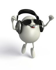 Happy Egg with headphone