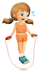 A young lady exercising with a rope