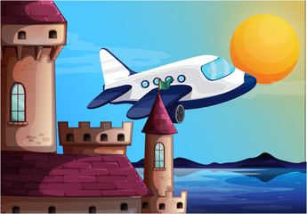 An airplane near the castle