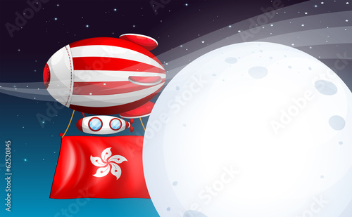 A floating balloon with the Hongkong flag