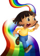 A rainbow with a child playing