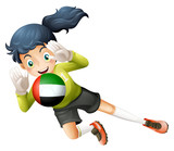 A female soccer player with the United Arab Emirates flag