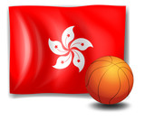 A ball in front of the flag of Hongkong