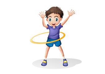 A young man playing with the hulahoop