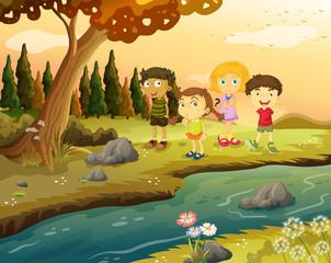 Kids at the riverbank