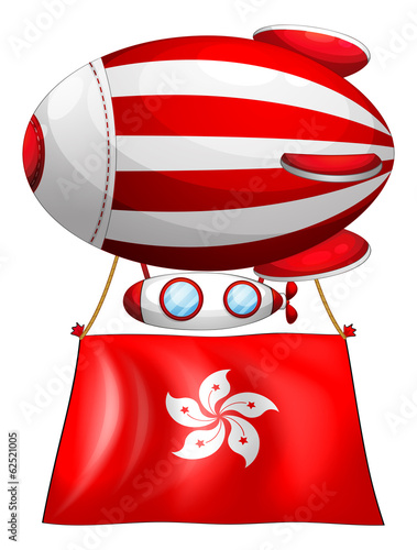 An air balloon with the flag of Hongkong