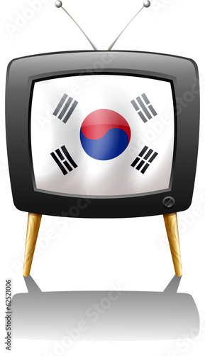 A TV with the flag of Korea