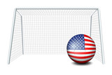 A soccer ball near the net with the flag of the United States