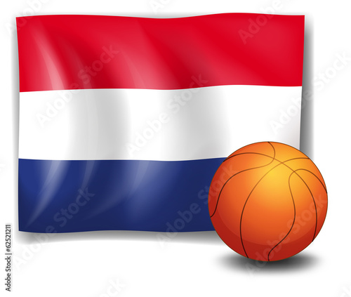 A ball in front of the flag of the Netherlands