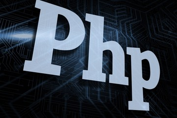 Php against futuristic black and blue background