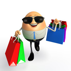 Happy Egg as Business Man with shopping bags
