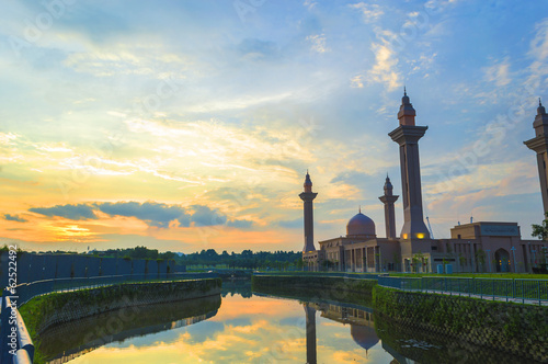 Reflection sunset of Masjid Tengku Ampuan Jemaah