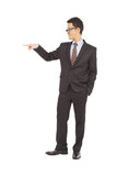 confident businessman raise hand to point something