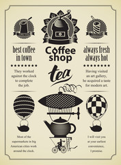 Set of design elements on the subject of coffee and tea