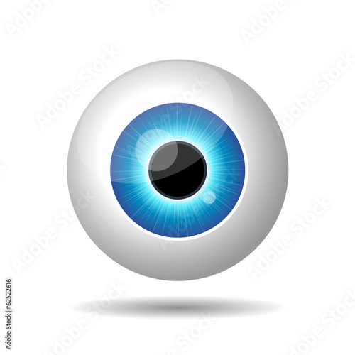 Blue Eye on White Background.
