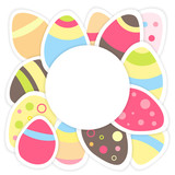 Easter eggs pattern on a white