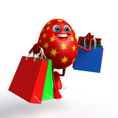 Happy Easter Egg with shopping bags
