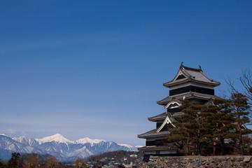 日本の城と雪山