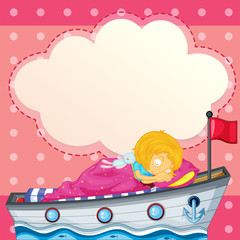 A young girl sleeping at the ship with an empty callout