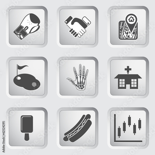Icons on the buttons for Web Design. Set 8