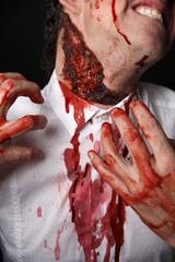 Psychopath scratches his neck