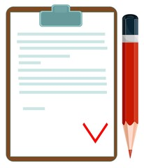 Vector illustration of a document with pencil
