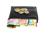 Black leather wallet with Israeli shekel notes and coins