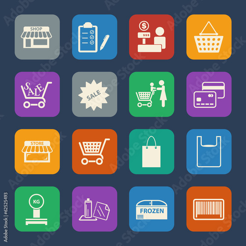 Shopping mall and delivery icons set