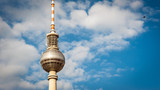 BERLIN - JUNE 2, 2013: Fernsehturm (Television Tower) lclose to