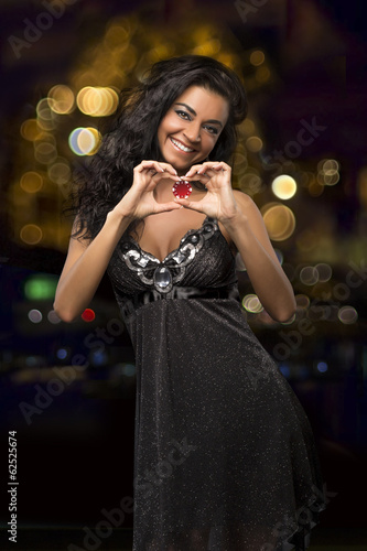dark-haired girl with casino chips