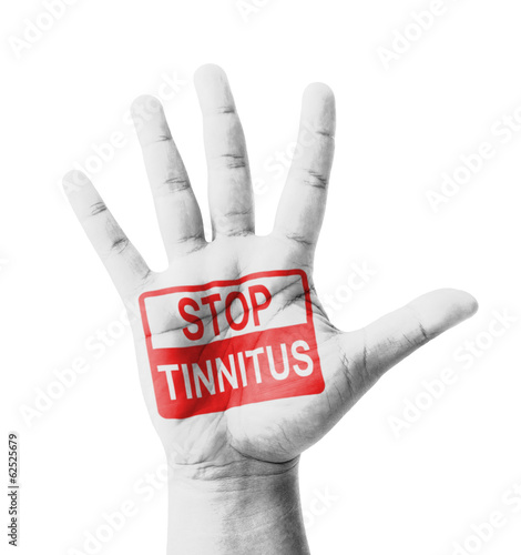 Open hand raised, Stop Tinnitus (Ear Ringing) sign painted