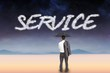 Service against serene landscape