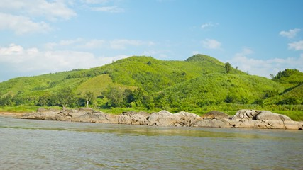 Shore of the Mekong River. View from the boat