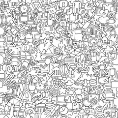 Web seamless pattern in black and white