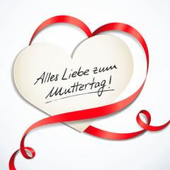 Herzförmige Schleife, Karte - Alles Liebe zum Muttertag