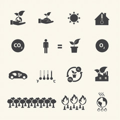 Eco energy icons set with texture background.