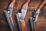 Shotgun  on wooden background