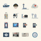 Airport icons set. Vector