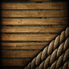 wooden background with ropes
